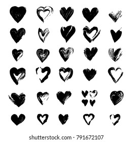 Painted hearts from grunge brush strokes. Freehand drawing. Collection of love symbols for Valentine card, banner. Distress texture design elements