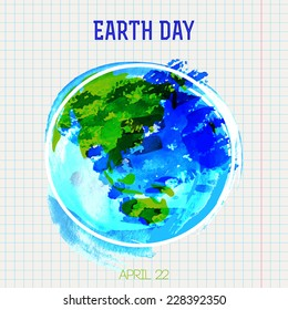 Painted illustration of planet earth, isolated on lined background
