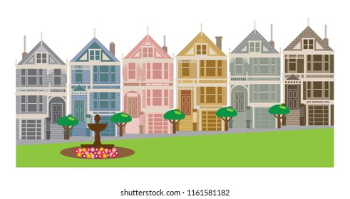 Painted Ladies Victorian and Edwardian row houses by Alamo Square in San Francisco California color vector Illustration