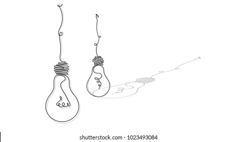 painted light bulbs, in the style of a soft, continuous line in the form of wire, for the interior, design, advertising, ideas, icons. vector sketch