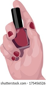 Painted Nails Hand holding Bottle of Nail Polish Vector