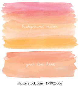 Painted Pink and Orange Ombre Watercolor Vector Background.