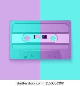Painted Retro cassette tapes purple and turquoise