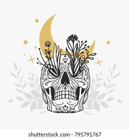 Painted skull with flowers. Vector hand drawn illustration