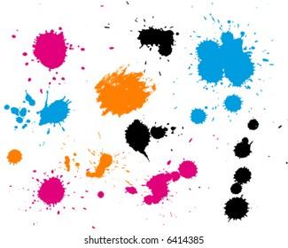 Painted splashes and splatter background