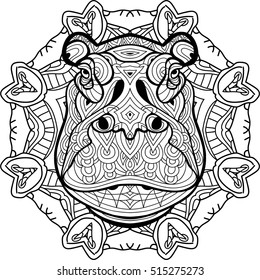 Painted the Strong Hippo on the background tribal Circular mandala patterns. Element for your design. Cards, bags, coloring books for adults, t-shirts, tattoo. Line art design. Zendoodle