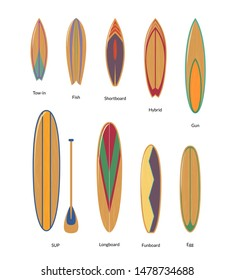 Painted Surfboards with Wooden Texture Set Surfers Equipment for Summer Active Sport or Recreation. Vector illustration of Surf Board