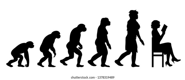 Painted theory of evolution of woman. Vector silhouette of homo sapiens. Symbol from monkey to reader.