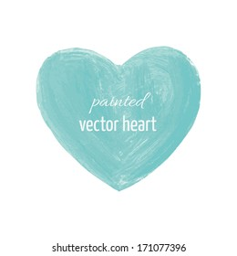 painted vector isolated heart frame blue filled