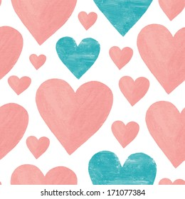 painted vector seamless blue and pink heart background pattern