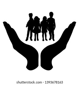 Painted vector silhouette of a hand in a defensive gesture protecting a children. Symbol of insurance, boy, girl, siblings, friends, child, protection.