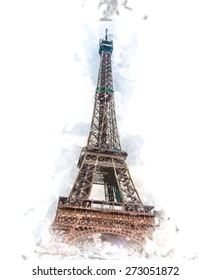 Painted view on Eiffel Tower. Artistic travel background. Vintage postcard from France
