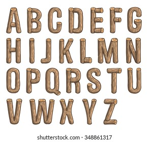 Painted wood vector abc, font, 3D, alphabet