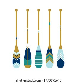 Painted wooden canoe Oar. Modern and contemporary coastal or beach decor. Set of paddles in blue colors. Vector illustration on White