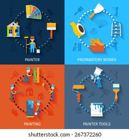 Painter character preparation for house refurnishing with spectrum and scraper 4 flat icons composition abstract vector illustration