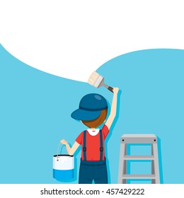 Painter Coloring Wall By Paintbrush, People Occupations, Profession, Worker, Job, Duty