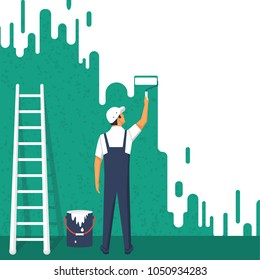 Painter colors the wall. A man is holding a paint roller in hand. Staircase a bucket. Vector illustration of flat design style. Human runs to provide construction work. Customer Service.