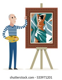 painter creating a cubist woman painting