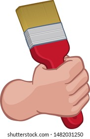 A painter or decorator cartoon hand in a fist holding a paintbrush