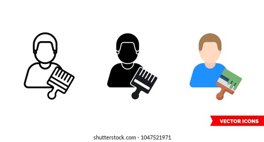 Painter decorator craftsman icon of 3 types: color, black and white, outline. Isolated vector sign symbol.