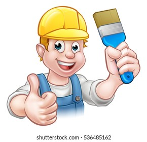 A painter decorator handyman cartoon character holding a paintbrush and giving a thumbs up