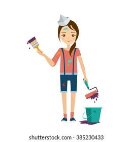 Painter Flat Vector Illustration. Career choice concept