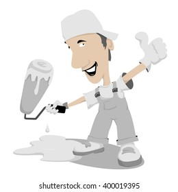 Painter giving thumb up. Vector illustration