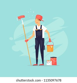 Painter holds a roller and a can of paint. Flat design vector illustration.