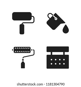 painter icon. 4 painter vector icons set. paints, paint bucket and paint roller icons for web and design about painter theme
