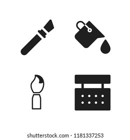 painter icon. 4 painter vector icons set. paint brush, paint bucket and painting brush icons for web and design about painter theme