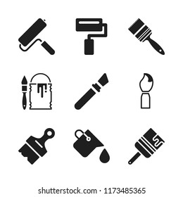 painter icon. 9 painter vector icons set. paint bucket, paint roller and painting brush icons for web and design about painter theme
