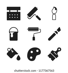 painter icon. 9 painter vector icons set. paints, paint bucket and paint roller icons for web and design about painter theme
