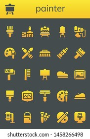 painter icon set. 26 filled painter icons.  Collection Of - Paint brush, Canvas, Artboard, Paint tube, Color palette, Brush, Roller, Beret, Painting, Paint roller, Compressor