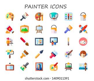 painter icon set. 30 flat painter icons.  Simple modern icons about  - color palette, paint brush, paint bucket, palette, paint tube, painting, canvas, pen and brush, easel