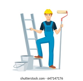 Painter man in overalls with a painting roller, with bucket and ladder. Room painter. Handyman. Construction worker.