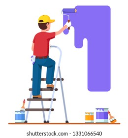 Painter man painting house wall with roller brush standing on step ladder. Worker guy using paint-roller & paint cans. Decorator job, interior renovation service. Flat vector character illustration