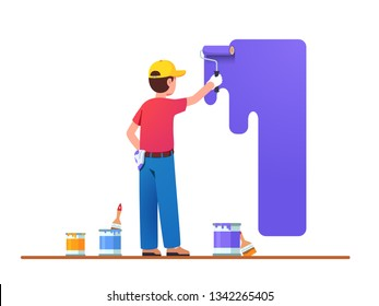 Painter man painting house wall with roller brush. Worker guy using paint-roller & paint cans. Decorator job, interior renovation service. Flat vector character illustration