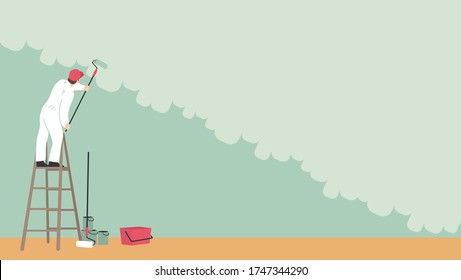 A painter on a ladder painting the wall. The man is holding a paint roller in his hand. Vector illustration flat design. Handyman for construction work. Customer service. Uniformed worker.