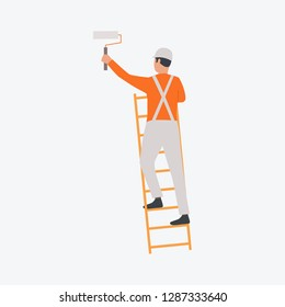 Painter on stairs holding roller. Decorator, design, worker. Can be used for topics like development, industrial