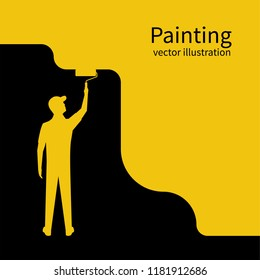 Painter paints wall silhouette. Man is holding a paint roller in hand. Vector illustration of flat design style. Human runs to provide construction work. Customer Service. Worker in uniform.