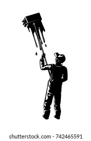 Painter Silhouette With Lights As Blank Text Space. Vector Illustration Of A Worker Silhouette Painting  A Wall With His Brush As Blank Text Space.