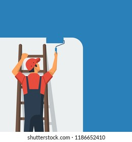 Painter standing on staircase paints wall. Man is holding paint roller in hand. Vector illustration of flat design style. Human runs to provide construction work. Customer Service. Worker in uniform.
