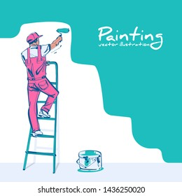 Painter standing on staircase paints wall. Man is hold paint roller in hand. Vector sketch style. Cartoon design. Construction work. Landing page customer service. Worker in uniform.