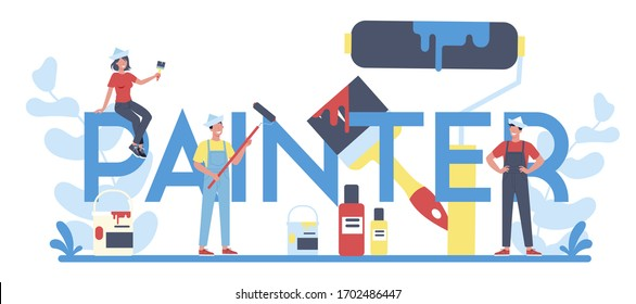 Painter typographic header concept. People in the uniform paint the wall with paint roller. Bucket with a paint. Person on the work. Vector illustration in cartoon style