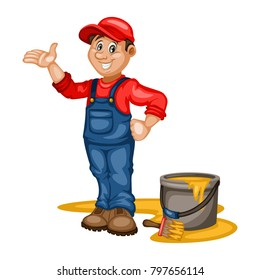 Painter Vector Character  with a Bucket and Paintbrush. Cartoon Mascot Illustration