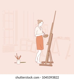 A painter who paints an easel. hand drawn style vector doodle design illustrations.