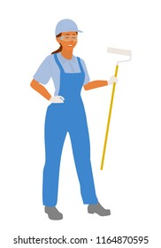 Painter woman is standing with a paint roller in her work clothes and safety goggles. Vector cartoon flat character  illustration isolated on white background