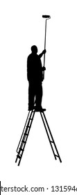 Painter worker on ladder vector silhouette isolated on white. Man decorator painting wall with paint brush roller. Decorator renovation home. Handyman move in job. Window washer cleaning glass service