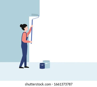 Painter worker woman paints the wall. Girl hold paint roller in hand. Flat vector cartoon modern illustration design.