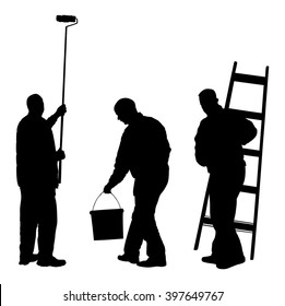 Painter workers with ladder vector silhouette isolated on white. Man decorator painting wall with paint brush roller. Crew renovation home. Handyman move in job. Washing window cleaning service action